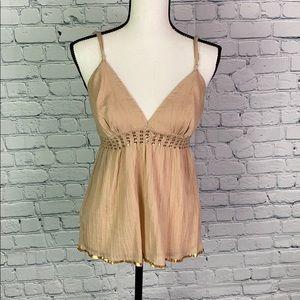 bebe light cream top w/ sequin detail size medium